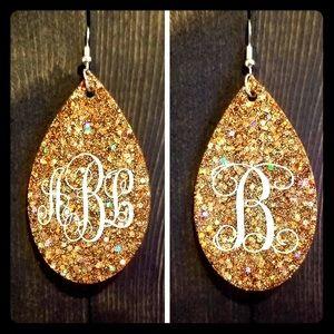 Custom teardrop monogram earrings